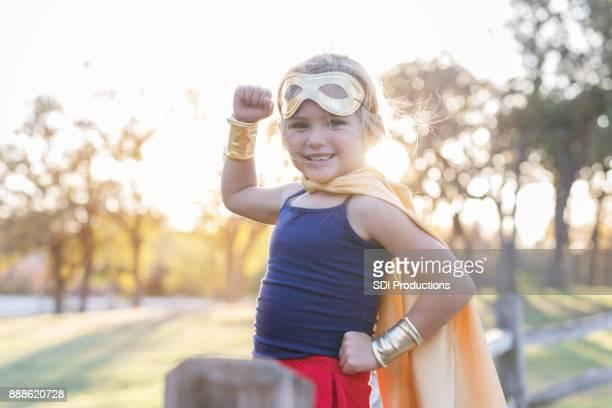 Confident female superhero