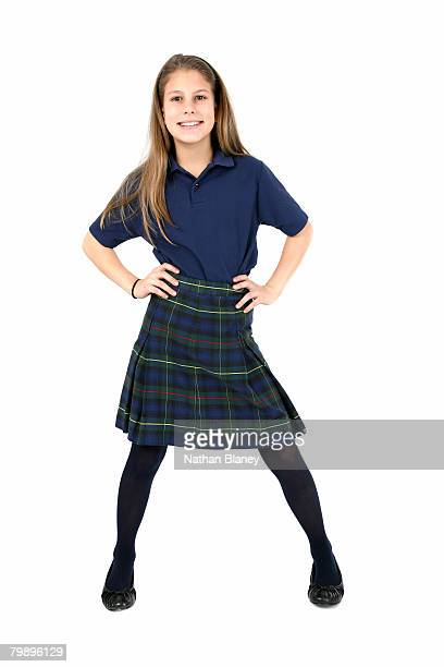 confident girl. - girls in plaid skirts stock photos and pictures