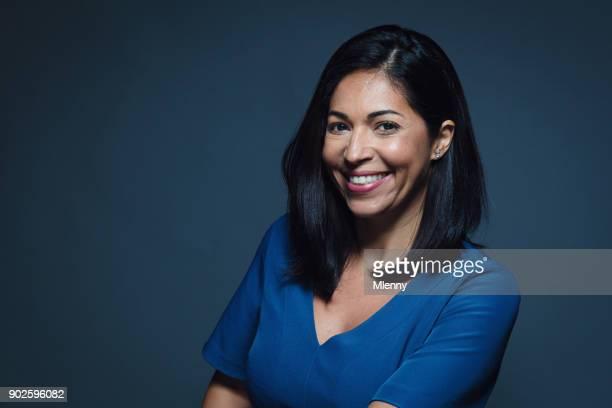 Confident happy smiling hispanic woman