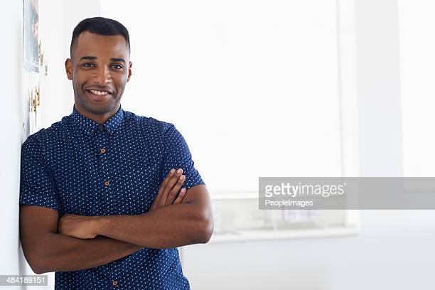 confident in his design abilities - most handsome black men stock photos and pictures