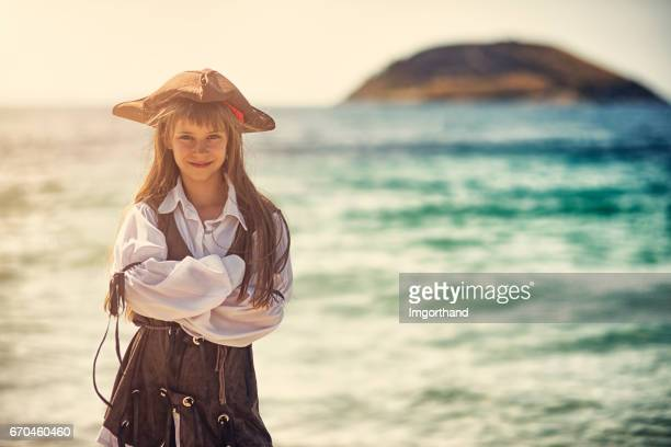 confident little pirate girl - female pirate stock photos and pictures