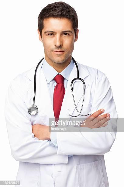confiante masculino médico-isolada - só um homem imagens e fotografias de stock