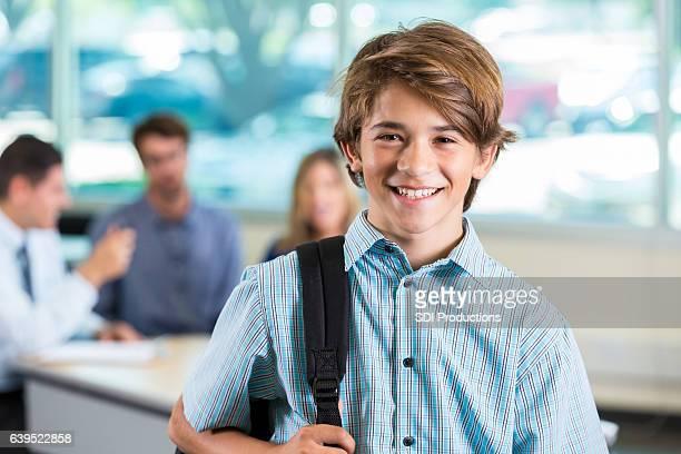 Confident male high school student