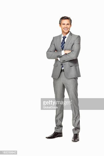 大胆な成熟したビジネスの男の手の折り返し笑顔