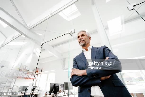 confident mature businessman in office - low angle view stock pictures, royalty-free photos & images