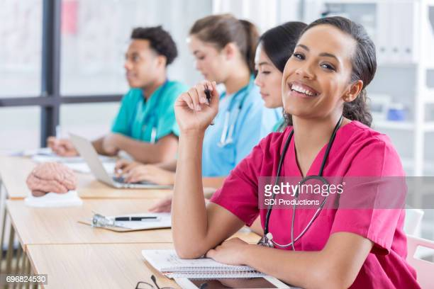 Confident nursing student in nursing school