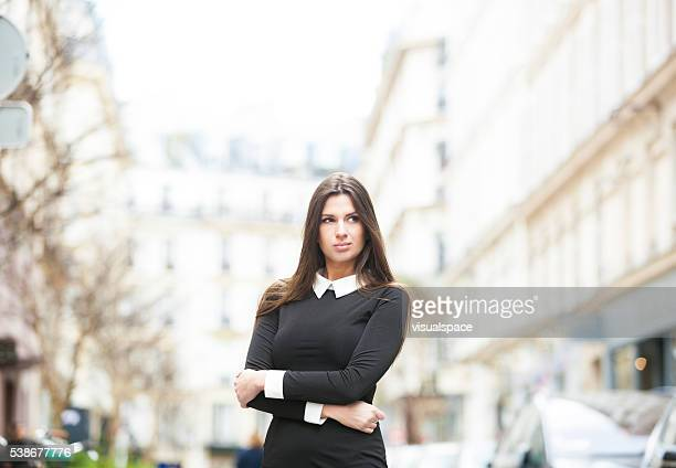 confident pretentious woman in a street - female exhibitionist stock photos and pictures