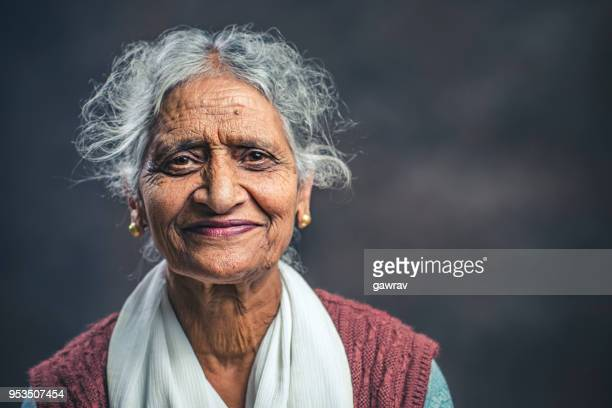 Confident senior woman of India