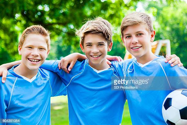 Confident soccer players before game