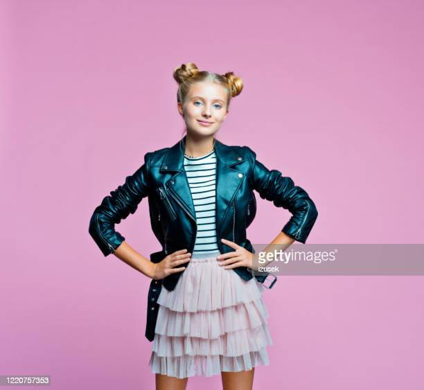 confident stylish teenege girl - hand on hip stock pictures, royalty-free photos & images