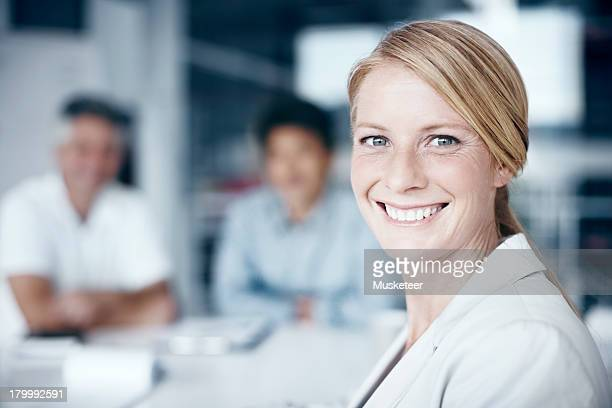 Confident woman in a meeting