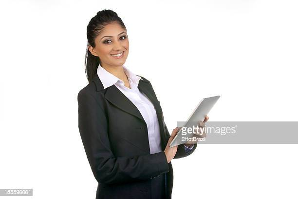 Confident woman portrait holding a tablet