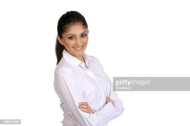 Confident woman portrait in white