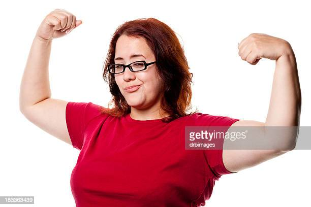confident woman shows off arms - big fat white women stockfoto's en -beelden