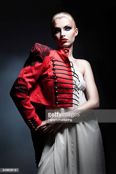 Confident woman wearing red jacket