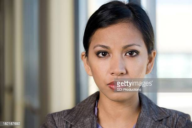 Confident Young Asian Business Woman Portrait with Copy Space
