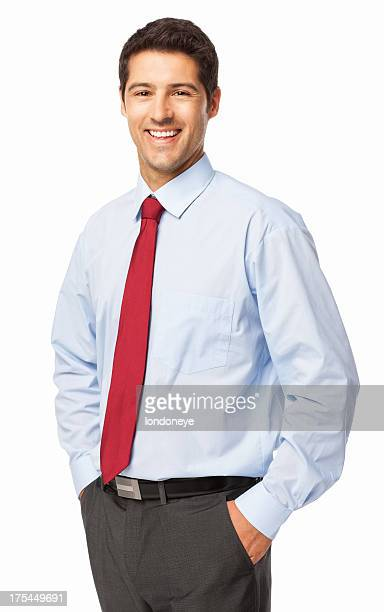 confident young businessman - isolated - overhemd en stropdas stockfoto's en -beelden