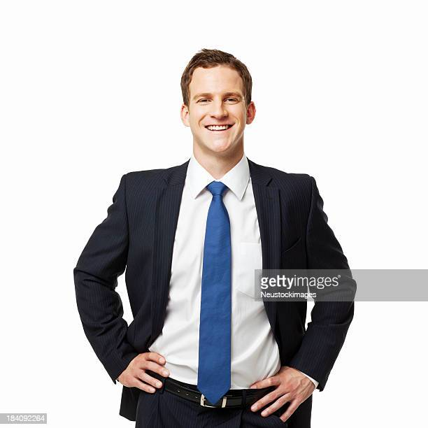 confident young businessman - isolated - arms akimbo stock photos and pictures