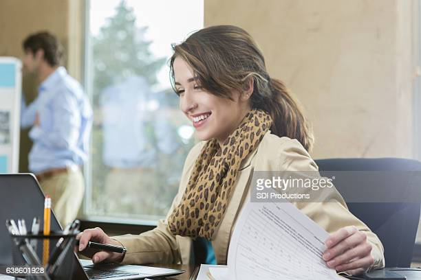 confident young businesswoman in the office - assistant stock pictures, royalty-free photos & images
