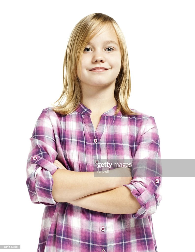Confident Young Girl (Isolated on White) : Stock Photo
