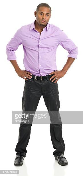 confident young man standing with hands on hips - open collar stock photos and pictures