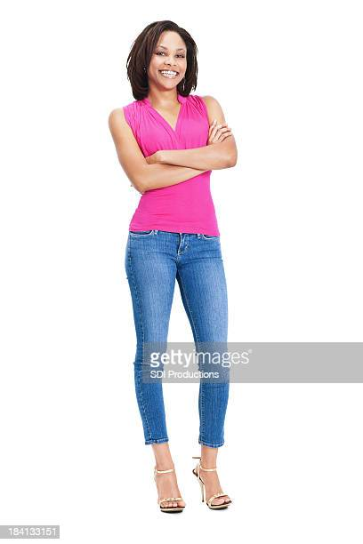 Confident Young Woman With Arms Crossed on White Background