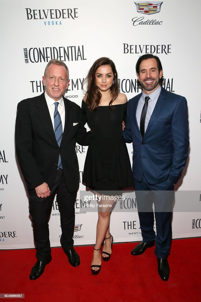 LA Confidential Editor in Chief Spencer Beck, Ana de Armas, and Modern Luxury Group Publisher Christopher Gialanella attend the Los Angeles Confidential, Alison Brie and Cadillac celebrate annual Awards Event with Belvedere Vodka at The Jeremy West Hollywood on January 13, 2018 in Los Angeles, California.