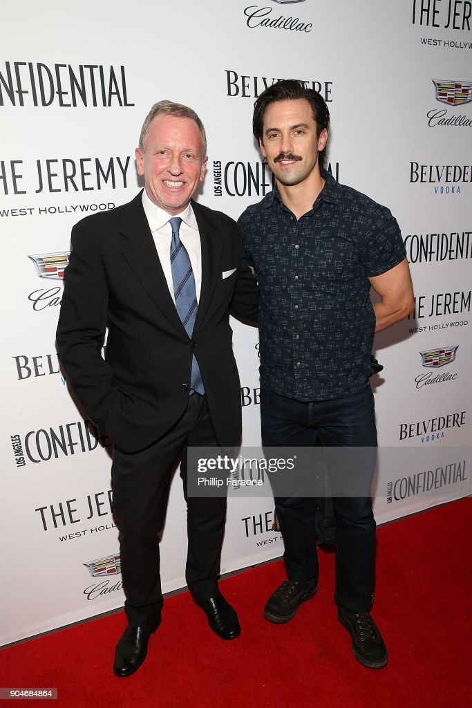LA Confidential Editor in Chief Spencer Beck and Milo Ventimiglia attend the Los Angeles Confidential, Alison Brie and Cadillac celebrate annual Awards Event with Belvedere Vodka at The Jeremy West Hollywood on January 13, 2018 in Los Angeles, California.
