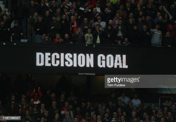VAR confims Marcus Rashford of Manchester United's first goal during the Premier League match between Manchester United and Liverpool FC at Old...