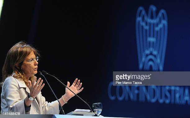 Confindustria President Emma Marcegaglia delivers a speech during day two of 'Cambia Italia Riforme Per Crescere' on March 17 2012 in Milan Italy...