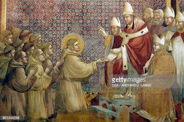Confirmation of the Rule, fresco, detail, Saint Francis cycle by Giotto , Upper Basilica of St Francis , Assisi, Umbria, Italy.