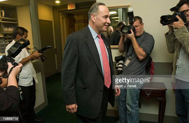 Sen. Charles E. Schumer, D-N.Y., arrives for a news conference after John G. Roberts Jr. Was confirmed 78-22 by the Senate to be the 17th chief...