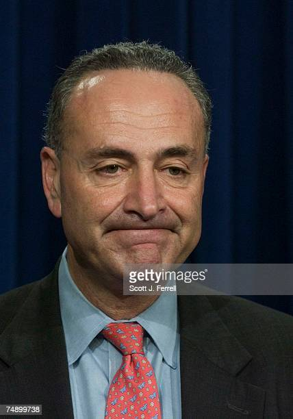 Sen. Charles E. Schumer, D-N.Y., during a news conference after John G. Roberts Jr. Was confirmed 78-22 by the Senate to be the 17th chief justice of...