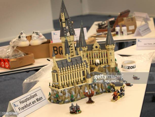 Confiscated fake lego toys are pictured during the annual media conference of the main customs office at the airport in Frankfurt am Main, western...