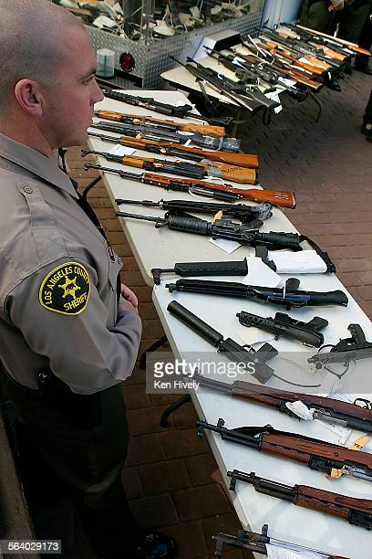 Confiscated weapons on display during press conference held by Sheriff Lee Baca at Compton City Hall Monnday January 22 where he announced the...