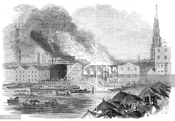 Conflagration at Sir C. Price's Wharf, Blackfriars, 1845. The London fire brigade attempting to extinguish a fire '...in the warehouses belonging to...