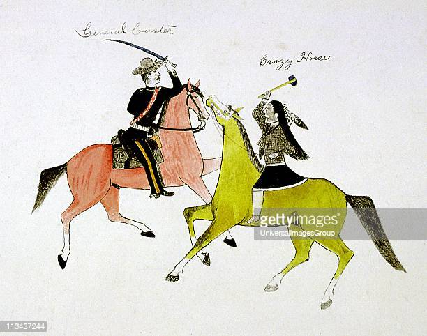 Conflict between General George Custer and Crazy Horse Painting on cloth by Kills Two Sioux Indian Dakota group of North American Plains Indians