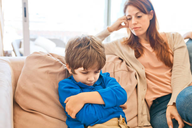 conflict between mother and son - parent arguing child stock pictures, royalty-free photos & images