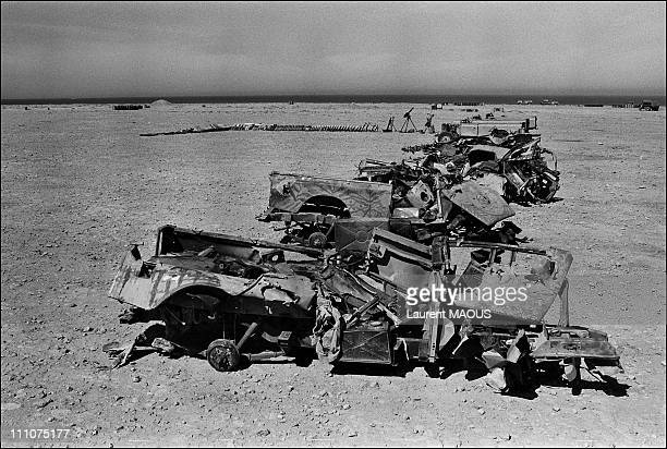 Conflict in the Western Sahara in Laayoune Morocco on April 02nd 1980 Moroccan forces display weapons and military equipment seized to Polisario Front