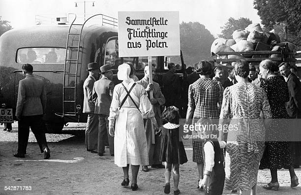 Conflict Poland ethnic Germans living abroad leaving Poland collecting point in Tiegenhof near by Gdansk Summer 1938 Published by 'Berliner...