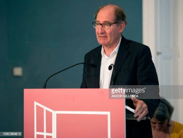 Conflict resolution expert from the International contact group GIC South African lawyer Brian Currin takes part in a conference in the Spanish...