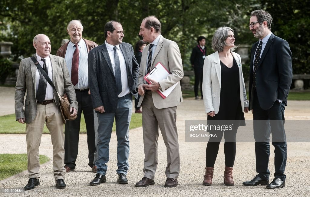 Conflict resolution experts from the International contact group GIC (From L) Alberto Spektorowski, Ray Kendall, Agus Hernan, Brian Currin, Anaiz Funosas and Jonathan Cohen arrive to attend a peace conference to end ETA's days-long dissolution process on May 4, 2018 in the small southwestern French town of Cambo-les-Bains, French Basque Country.
