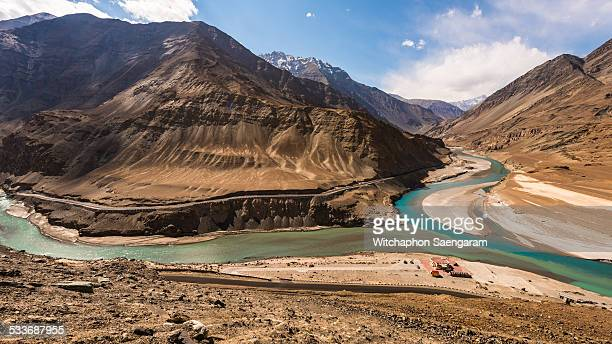 Confluence of Indus river and Zanskar river