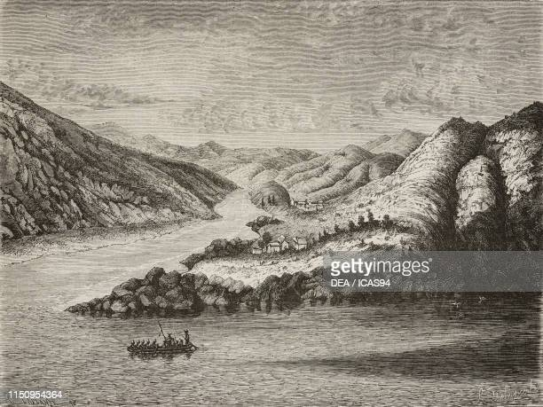 Confluence of the PeChouy and KinCha Kiang Rivers China engraving by Laplante from a sketch by Delaporte from Voyage d'exploration en IndoChine...