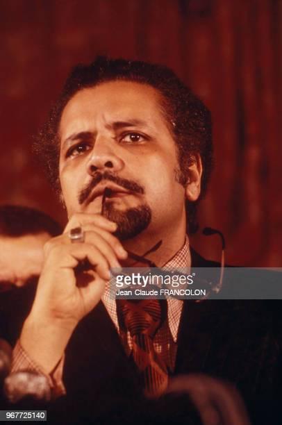 Conférence de presse de Ahmed Zaki Yamani ministre saoudien du Pétrole lors du choc pétrolier à Paris en France le 27 novembre 1973