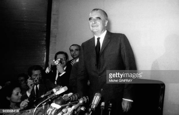 Conférence de presse de Georges Pompidou pour les élections présidentielles circa 1960 France