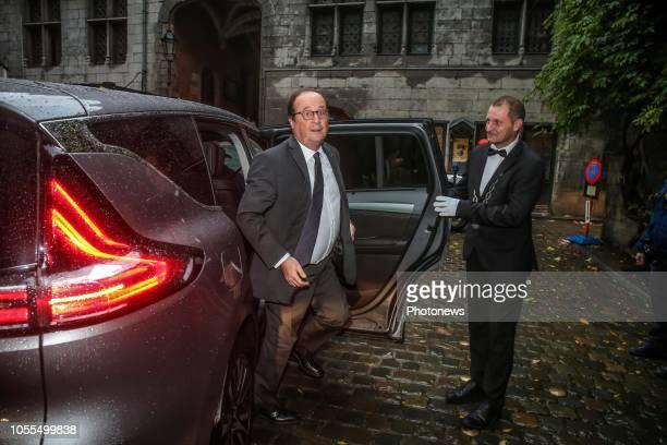 """- Conférence de presse de l'ancien président français François Hollande, dans le cadre de la publication de son dernier livre """"Les Leçons du..."""