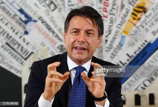 Conférence de presse du Premier Ministre italien Giuseppe Conte à l'Association de la Presse Etrangère à Rome, Italie le 22 Octobre 2018.