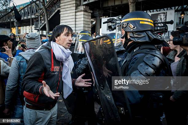 Confrontation between migrants and French police after the evacuation of a small camp in the streets of Paris France on 31 October 2016 More migrants...