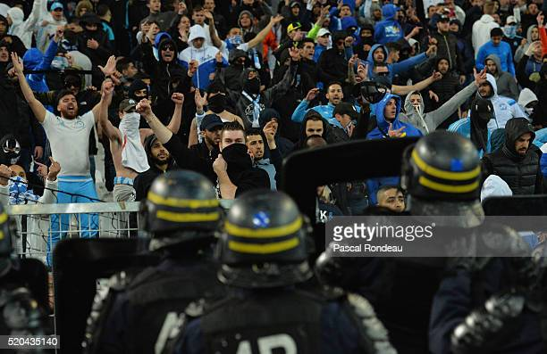 Confrontation with police forces and unhappy Marseille fans after another bad result for Marseille during the French League 1 match between Olympique...